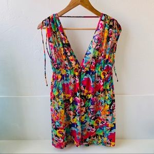 Kenneth Cole Reaction mesh floral swim coverup M